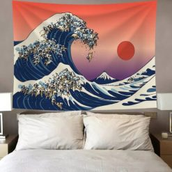 tenture murale japonaise grande vague