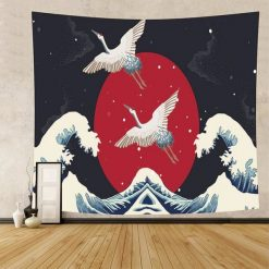 tenture murale japonaise oiseaux ocean