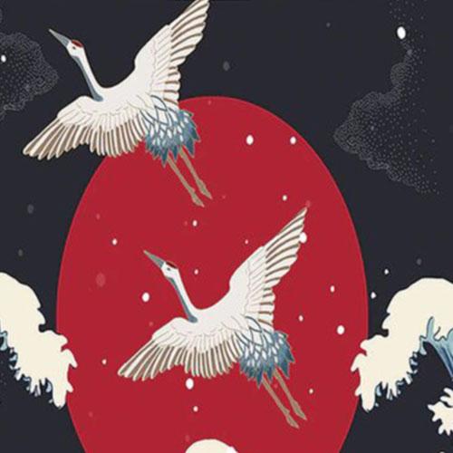 tenture nippone oiseaux ocean