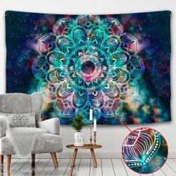 tenture murale mandala univers bleue