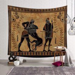 Tenture Murale Africaine Chasseurs Tribu