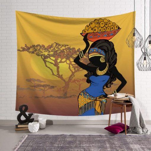 tenture murale africaine porteuse de fruits