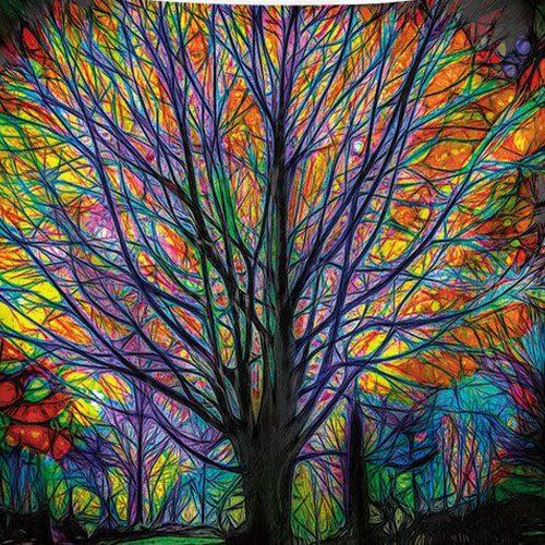 tenture murale arbre de vie illuminé