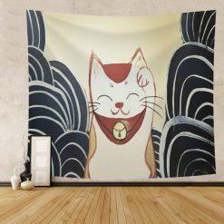 tenture murale japonaise chat porte bonheur