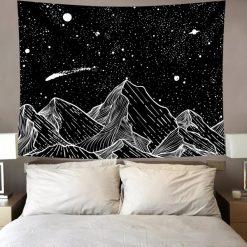 tenture murale japonaise noir et blanc montagne