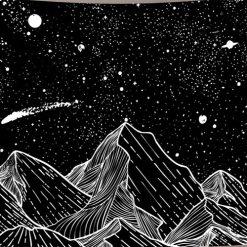 tenture murale japonaise montagnes noir et blanc