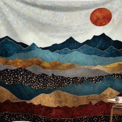 tenture murale montagnes japonaises