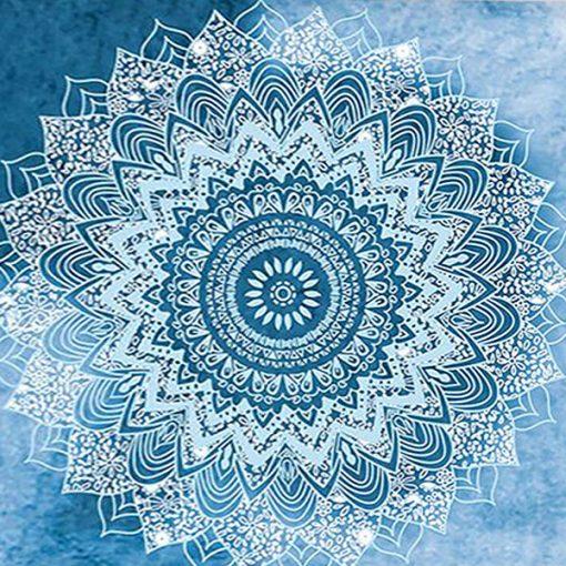 tenture murale zen mandala bleu