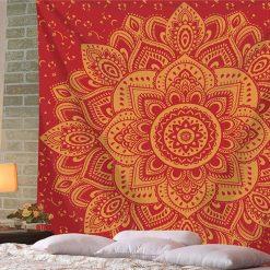 tenture murale mandala fleur de vie rouge