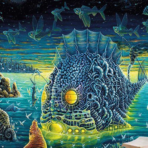 tenture murale psychedelique lumiere noire ocean