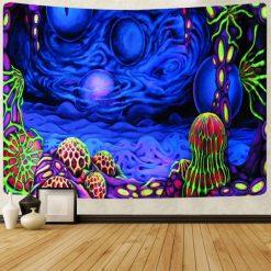 tenture murale psychédélique uv