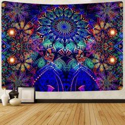 Tenture psychedelique lumiere noire uv Ozora