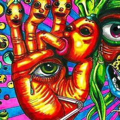 Tenture murale psychedelique acid