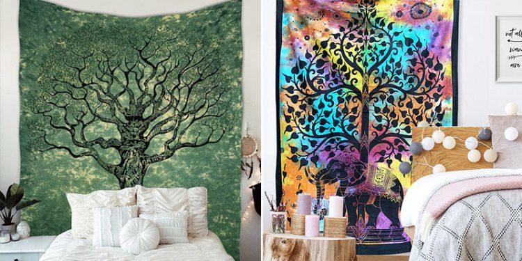 tenture murale chambre arbre de vie