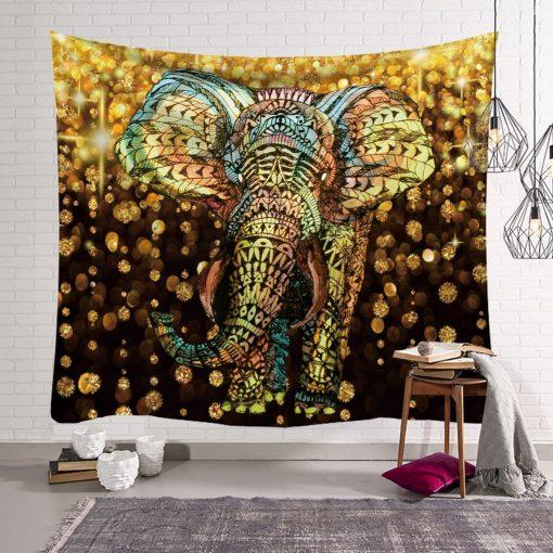 Tenture murale elephant doré 3d