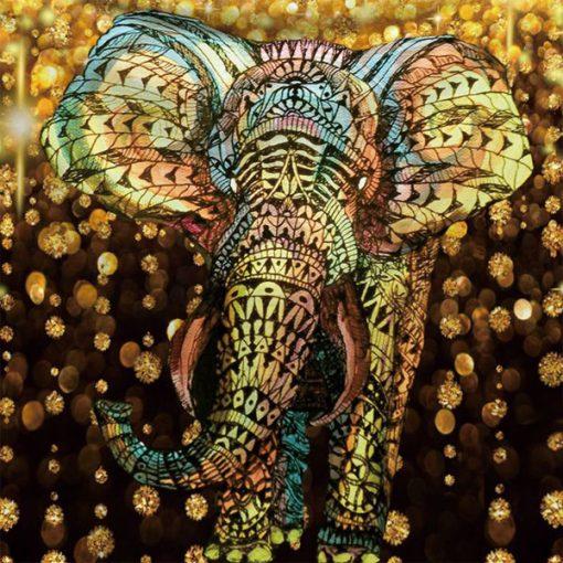 Tenture murale elephant 3d coloree