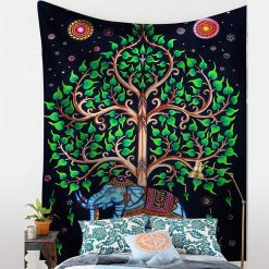 tenture arbre de vie elephant vert