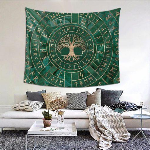 tenture arbre de vie runes yggdrasil