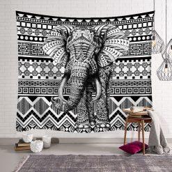 tenture murale elephant 3D noir et blanc