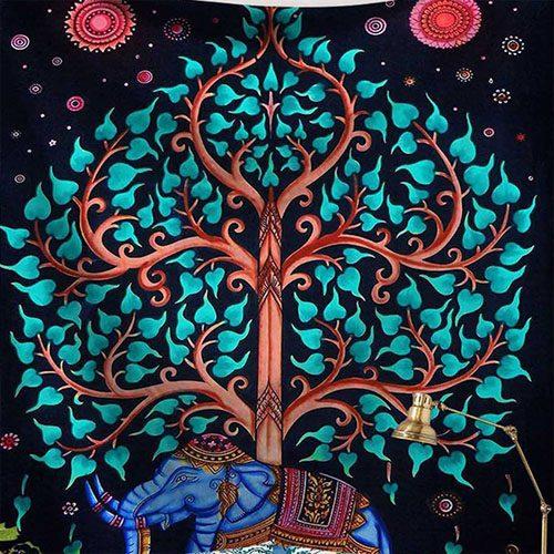 tenture elephant et arbre de vie bleu