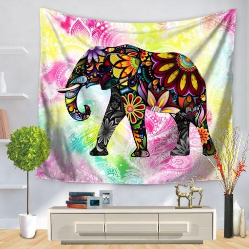 tenture murale elephant hippie sixties