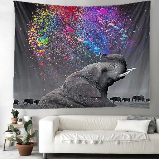 Tenture murale elephant holi festival