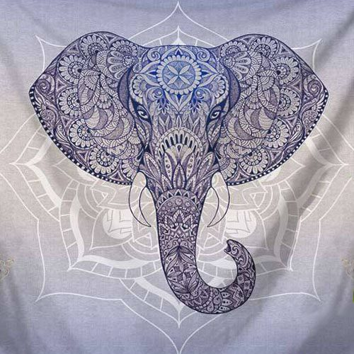 tenture elephant mandala lotus bleu