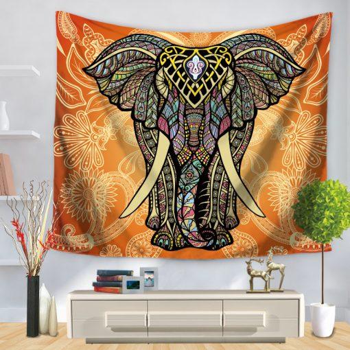 tenture elephant mandala orange