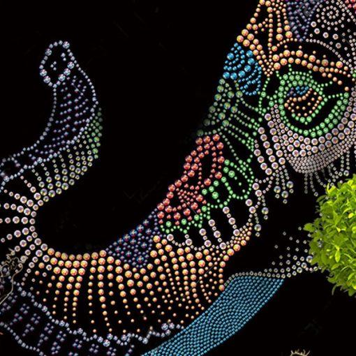 tenture elephant mandala pointillisme