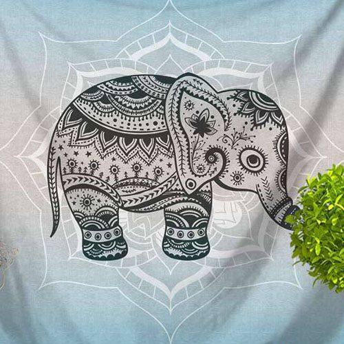 tenture elephant psychédélique lotus