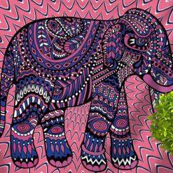 tenture elephant psychedelique rose