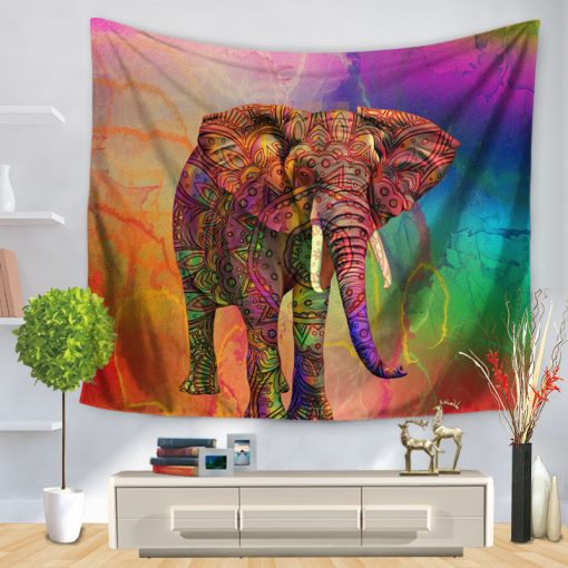 Tenture Elephant Savane Mandala
