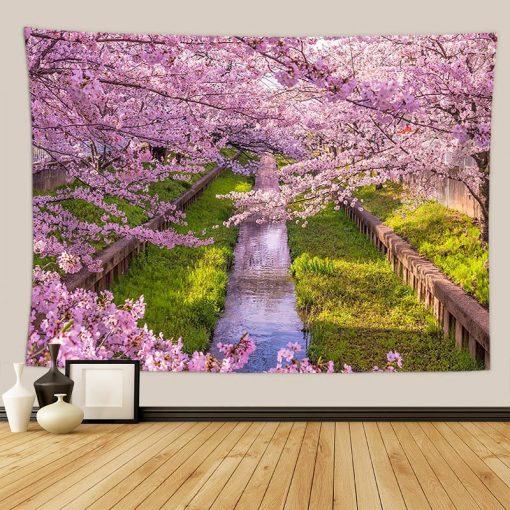 tenture japonaise cerisier bord de rive