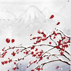 tenture murale japonaise cerisier hiver