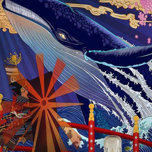 tenture japonaise ukiyo-e baleinev