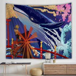 tenture japonaise kanawaga grande vague baleine