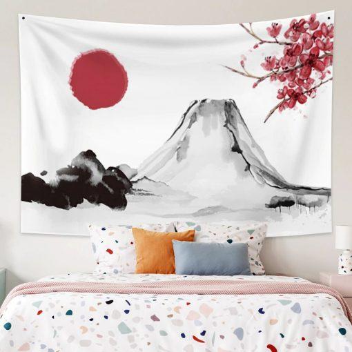 Tenture japonaise peinture mont Fuji