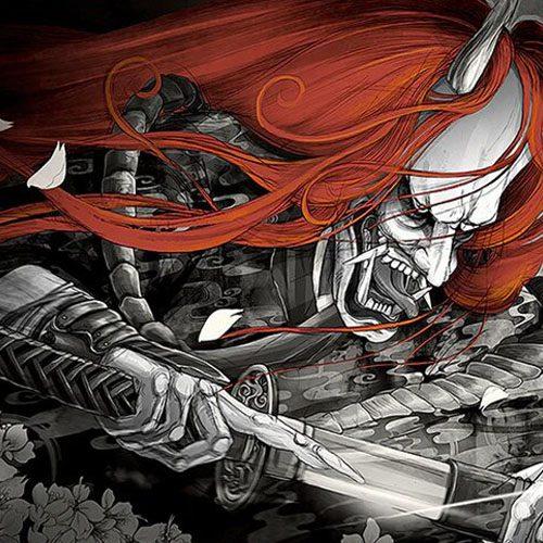 tenture japonaise samourai demon hannya