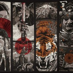 tenture murale japonaise samourai tigre
