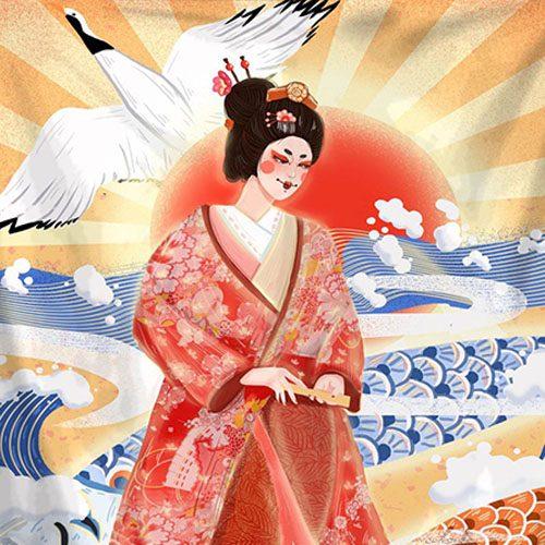 tenture murale japonaise vintage traditionnelle