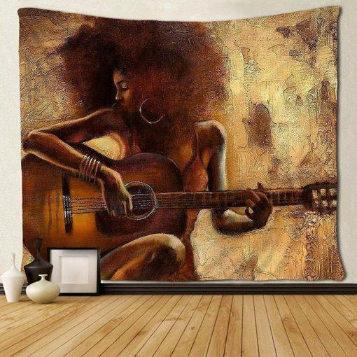 tenture murale africaine guitare hippie