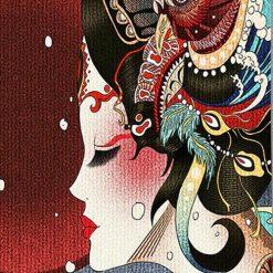 tenture murale asiatique vintage geisha japon