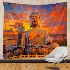tenture murale bouddha statue zen
