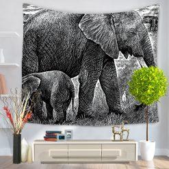 tenture murale elephant dessin noir blanc
