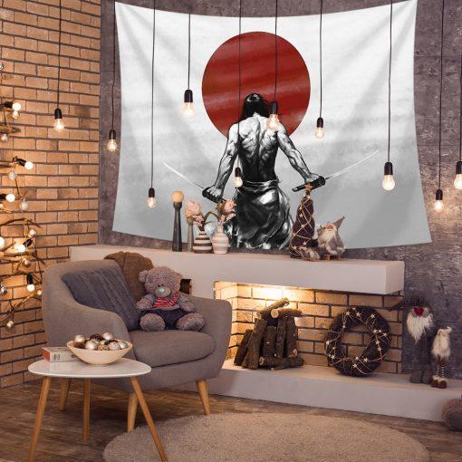 tenture murale guerrier japonais solitaire