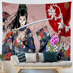 tenture murale japonaise femme samourai japon