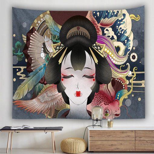 tenture murale japonaise geisha kyoto
