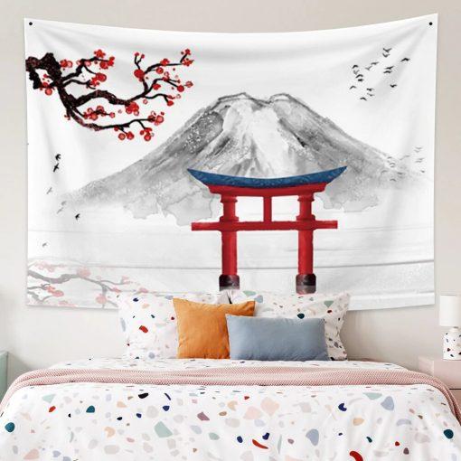 tenture murale japonaise mont fuji cerisier