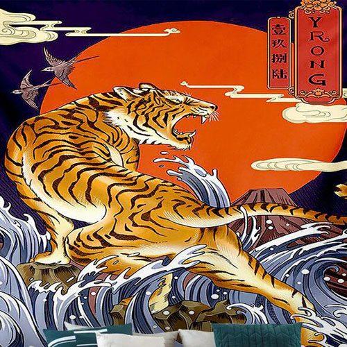 tenture murale japonaise tigre