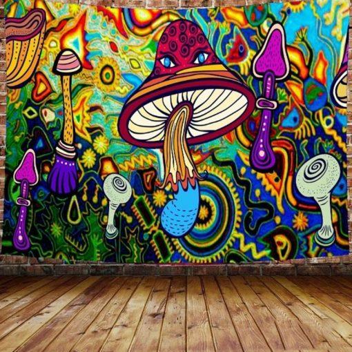 tenture murale psychedelique champignon hippie